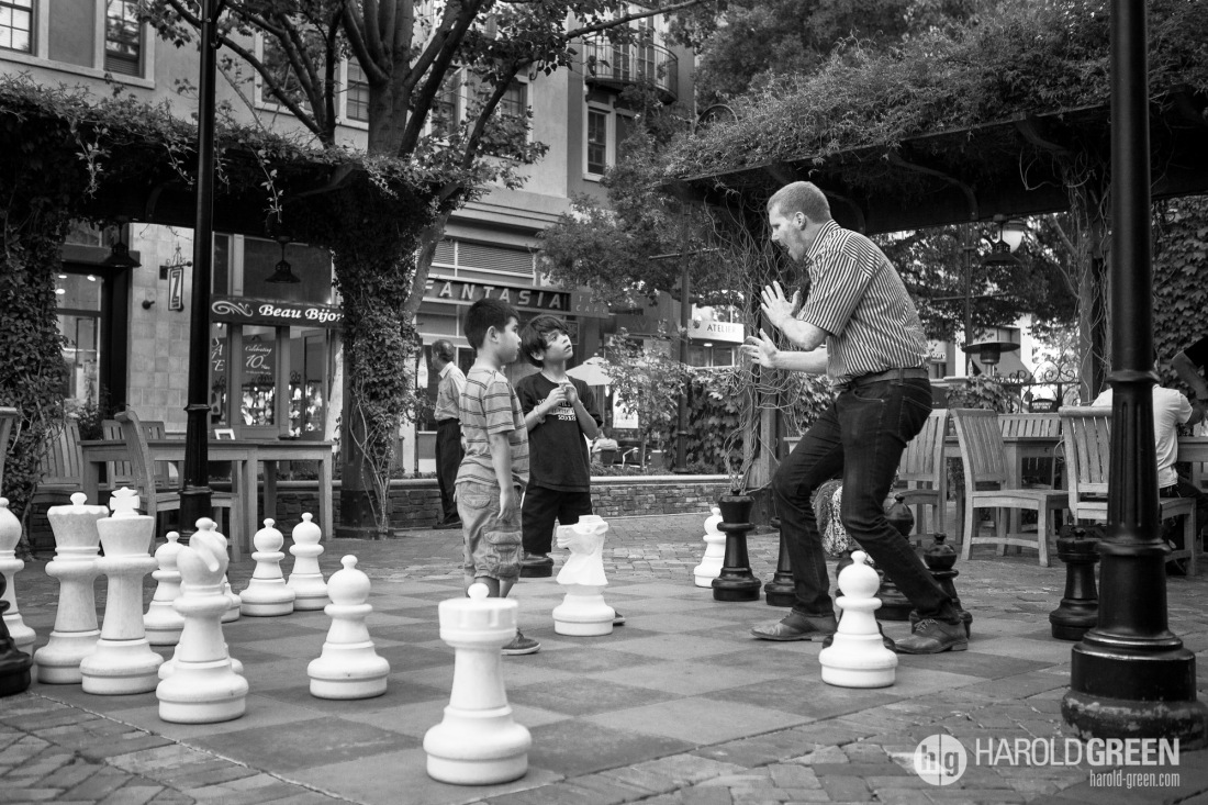 """Chess Lesson"" San Jose, California © 2014 Harold Green."